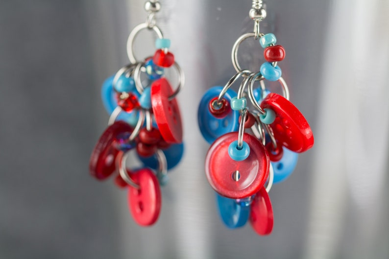 a52fd114d134f Button Dangle Earrings / Turquoise Red and Blue Jewelry / Fun Blue and Red  Earrings by randomcreative on Etsy
