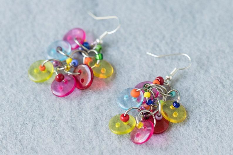 7968c327e83e6 Button Dangle Earrings - Bright Colorful Multicolored Rainbow by  randomcreative on Etsy