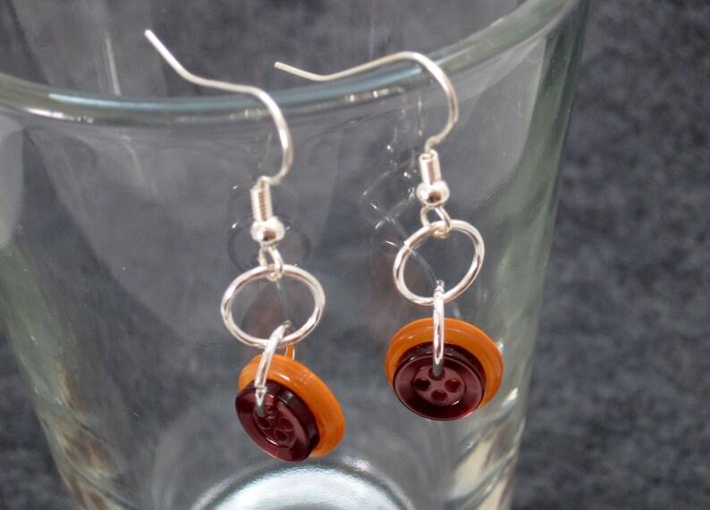 7f3681cb6be17 Button Dangle Earrings Orange Brown by randomcreative on Etsy