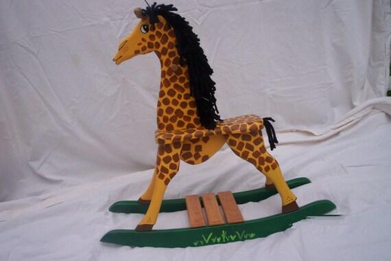 girafe bascule en bois etsy. Black Bedroom Furniture Sets. Home Design Ideas