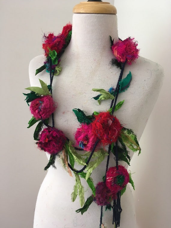 Silk Flower Necklace Recycled Silk Rose Garland Hand Etsy