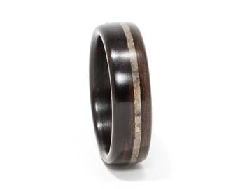 Size 10 Wood and Lunar Meteorite Ring, Wooden Ring Ebony Wood Ring Men, Wood Wedding Ring, Bentwood Ring, Men's Wood Ring, Woman's Wood Ring