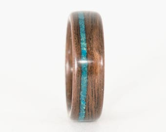 Walnut Wood Ring with Blue Opal Inlay, Wood Wedding Band, Bentwood Ring, Wooden Wedding Ring, Wood Band, Bentwood Wedding Band, Wooden