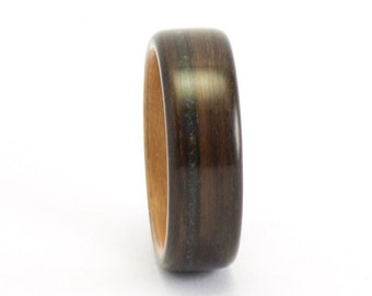 Bentwood Ring, Wooden Ring, Black Opal Band, Ebony and Pear Wood Ring, Wooden Wedding Band, Wedding Ring Men, Women's Bentwood Band
