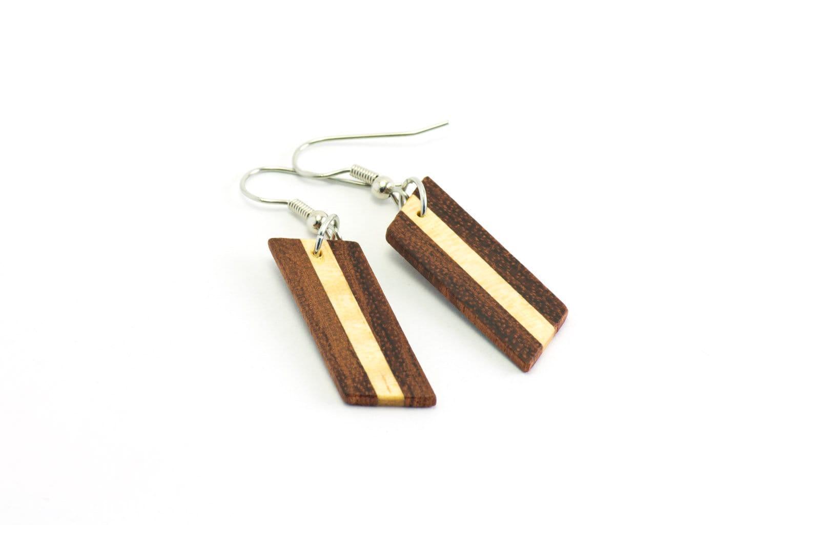 Wood Pendant Earrings - Wooden Earrings - Bubinga and Maple - Dangle  Earrings - Stainless Steel - Minimalist Earrings