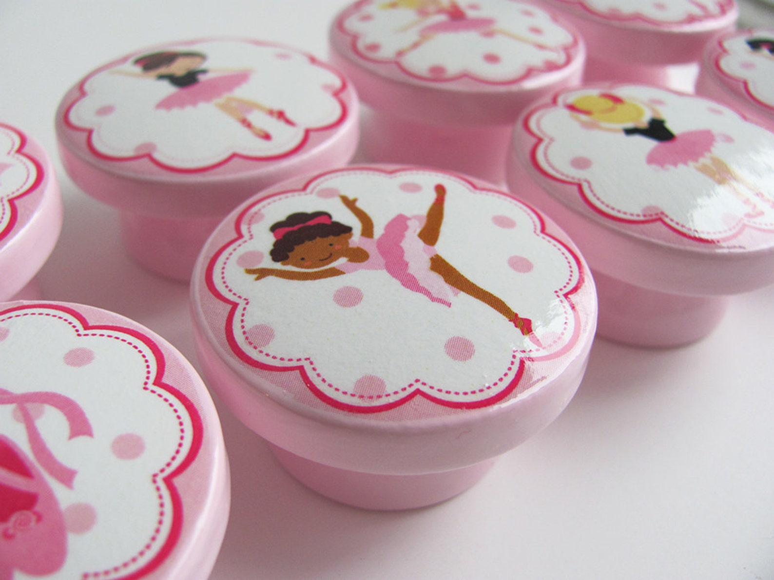 ballerina knobs, pink ballet knobs, ballet slippers, dancing girls knobs - wood knobs- 1 1/2 inches - made-to-order