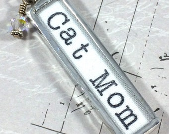 Cat Mom, Cat Necklace, Word Jewelry