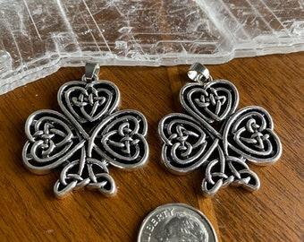 2 Large Silver Pewter Celtic Knot Irish Shamrock Pendants
