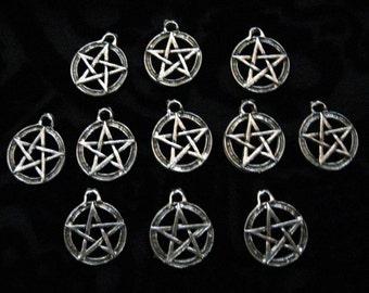 10 Silver Pewter Pentacle Pentagram Charms