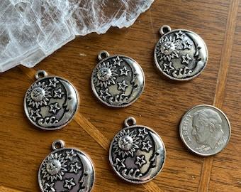 5 Silver Pewter Sun Star Moon Family Pendant Charm