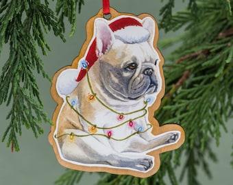 french bulldog christmas ornament wood tree ornament handmade watercolor art dog ornament french bulldog gift