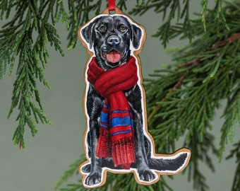 Black Lab Christmas Ornament Watercolor Labrador Retriever Black Lab Gift Dog Lover Gift Stocking Stuffer