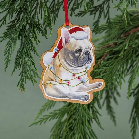 French Bulldog Christmas Ornament.French Bulldog Christmas Ornament Wood Tree Ornament Handmade Watercolor Art Dog Ornament French Bulldog Gift