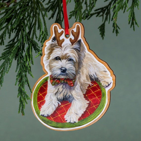 Cairn Terrier, Christmas Ornament, Wood Tree Ornament, Handmade, Watercolor  Art, Cairn Terrier Art, Dog Ornament, - Cairn Terrier Christmas Ornament Wood Tree Ornament Etsy