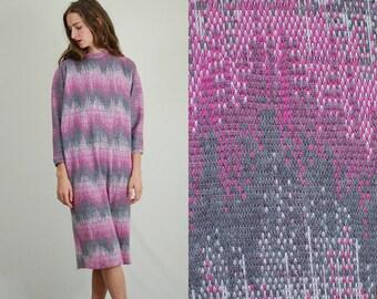 60s Sack Dress / Vintage 60s Dress / 60s Shift Dress / Chevron Dress /60s Mod Dress / Vintage Sack Dress / Mod Dress / Medium Large