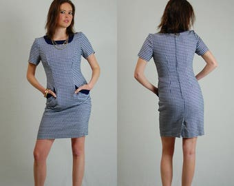 Vintage Dress / Vintage 80s Dress / Hounds Tooth / Body Con / Secretary Dress / Office Dress / Body Con Dress / Shift Dress / Small