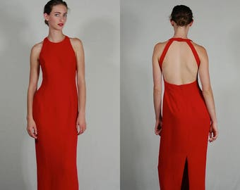 Long Party Dress Vintage Lipstick Red Open Back Full Length Body Con Cache Gown (xs)