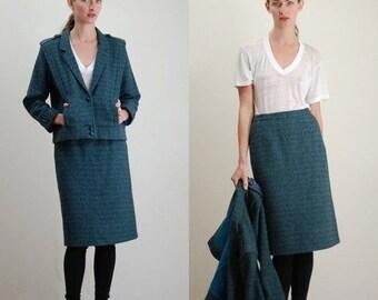 7ab3abc2aee97 50% OFF Fall Sale Vintage Suit   Modern Suit   Tailored Suit   Tweed Jacket    Tweed Skirt   Wool Tweed Suit   Womens Suit   80s Suit   Power