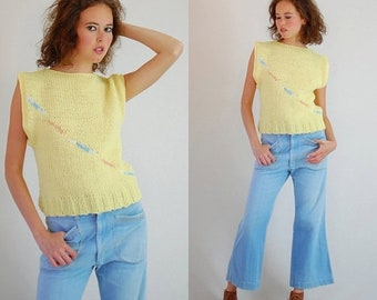 30% Off Winter Items Boxy Sweater Vest Vintage 80s Light Yellow Boxy Fit Slouchy Oversized Indie Sweater Vest (m l)