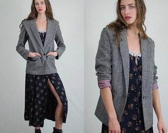 30% Off Winter Items Gray Tweed Blazer / Vintage Wool Blazer / Tweed Jacket / 80s Blazer / Wool Blazer / Gray Blazer / Preppy Jacket / 80s B