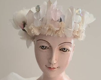 New! blushing rose - raw iridescent rose quartz points crystal crown - santos adornment