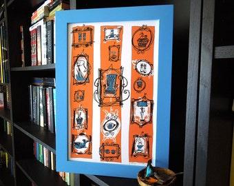 DIE HERBST-KOLLEKTION | Retro-Illustrationen Spaß Vintage-Stücken in Lachs Rosa, Pfau blau und dunkle Schokolade von Kathryn DiLego gedruckt