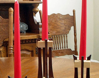 Wooden Candle holder Trio