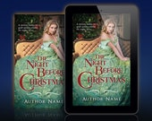 Premade Book/Ebook Cover: Historical or Contemporary Christmas Romance with woman in ballgown sitting before a Christmas tree. Customizable.