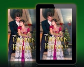 Premade Book Cover: Regency Christmas romance with a man and woman embracing in front of a fireplace with Christmas decorations nearby