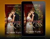 Premade Ebook Cover: Christmas Regency Romance with a couple embracing in front of the Christmas tree. Customizable.