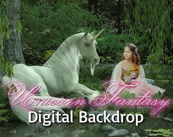 Unicorn Fantasy Digital Backdrop - 3D render