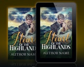 Premade Ebook Cover: Highlander Historical Romance with a couple embracing in Scotland. Customizable.