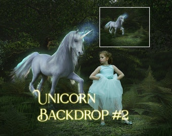 Digital backdrop of a unicorn in an enchanted forest
