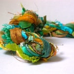 chameleon xl fiber effects™ 30yd 15x2 art yarn bundle . turquoise gold green fringe yarn pack weaving craft kit ribbons wool sari silk