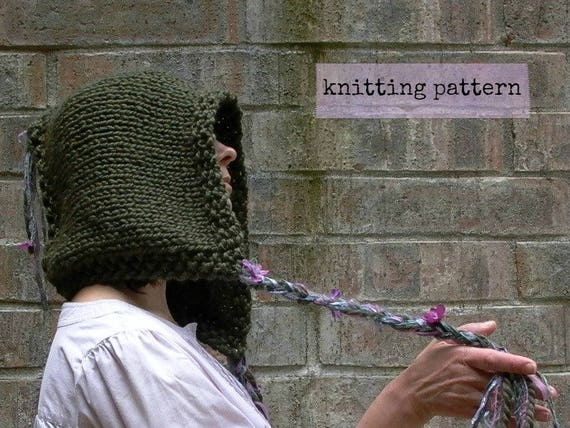 pixie hood knitting pattern instant download . faery  715256a831f
