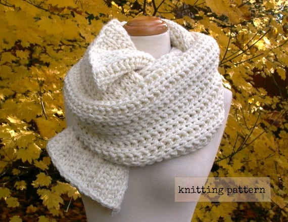 Fisherman's Daughter Scarf Easy Knitting Pattern Chunky Etsy Adorable Easy Knitting Patterns Scarf