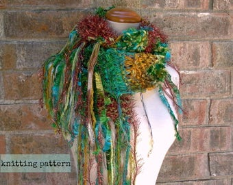 scarf knitting pattern . yours truly scarf pattern . knit scarf pattern . instant download . diy custom fringe scarf knitting tutorial