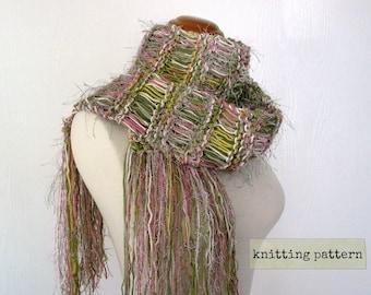 scarf knitting pattern . metamorphosis scarf pattern . knit scarf pattern . instant download . custom scarf knitting tutorial instructions