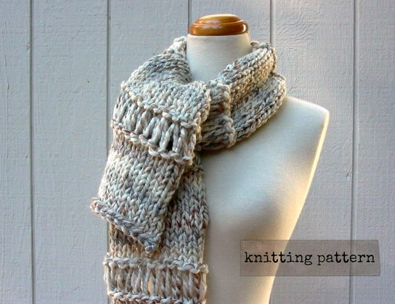 Drop Down Scarf Easy Knitting Pattern Chunky Knit Scarf Etsy