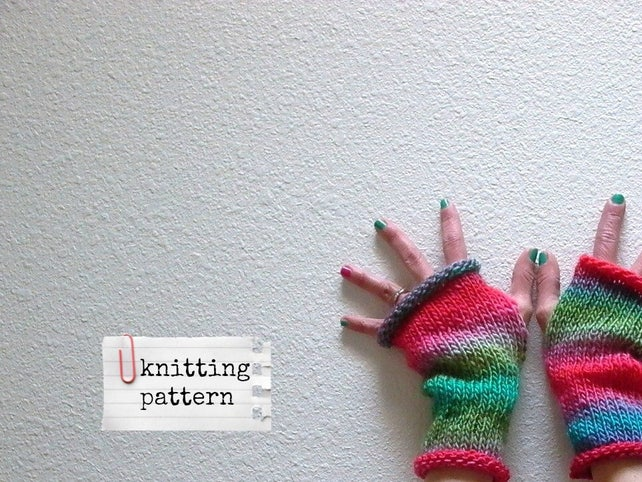 Easy Knitting Pattern Jazz Hands Fingerless Gloves Pattern Etsy