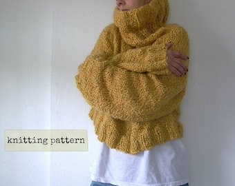 Easy Like Sunday. oversized sweater knitting pattern . cropped sweater pattern . cowl neck chunky knit sweater pattern . pdf knit pattern
