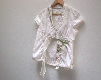 faded rose. womens upcycled bodice blouse sz m. shabby boho chic top victorian tattered antique lace cream cotton reconstructed clothing