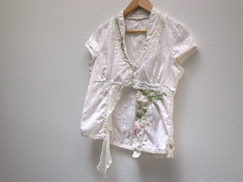 tattered lace boho prairie shabby lagenlook chic eco altered upcycled shirt womens reconstructed vintage floral blouse m olive branch