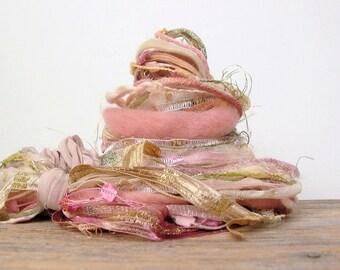 prairie blossom fringe effects™ 21yds fiber art yarn bundle . pink gold green peach sparkle ribbons sari silk wool embellishment yarn pack