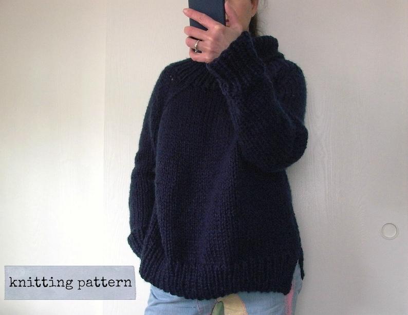 Bff Oversized Sweater Knitting Pattern Cowl Neck Raglan Etsy