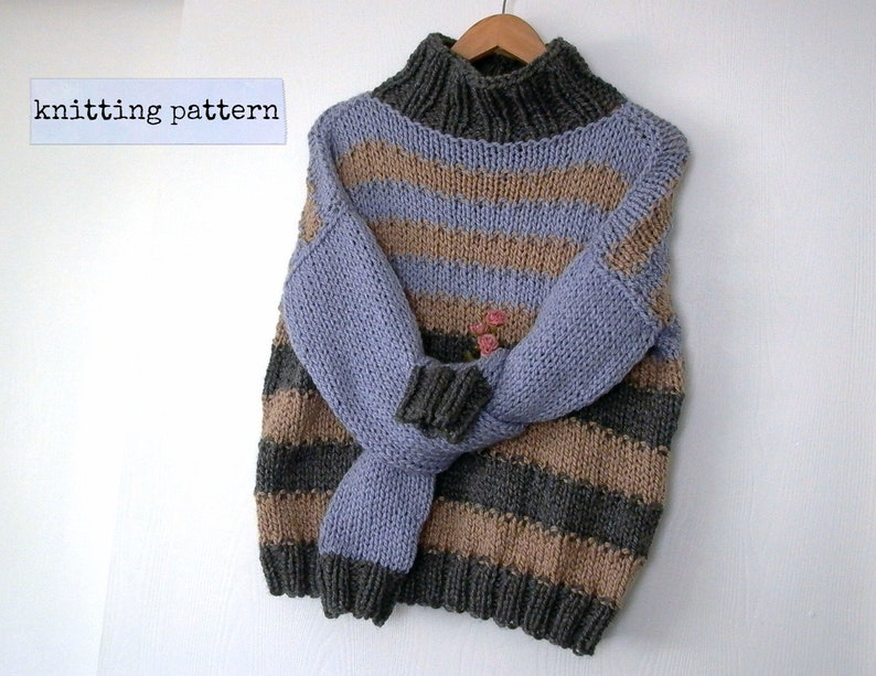 c50bd9ca0 Fibonacci. turtleneck sweater knitting pattern . loose boxy
