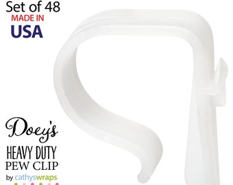 Doey's HEAVY DUTY Pew Clips attach Wedding Aisle Pew Decorations on Pews, Chairs, Tables - bows, tulle, aisle markers, Flowers 48 Pew Hooks