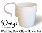Doey 39 s Pew Clip Wedding Flower Pot Vase Decorative Sleeve Attach Wedding Ceremony Flowers to Church Pew - Set of 12 Plastic Pots Pew Clips