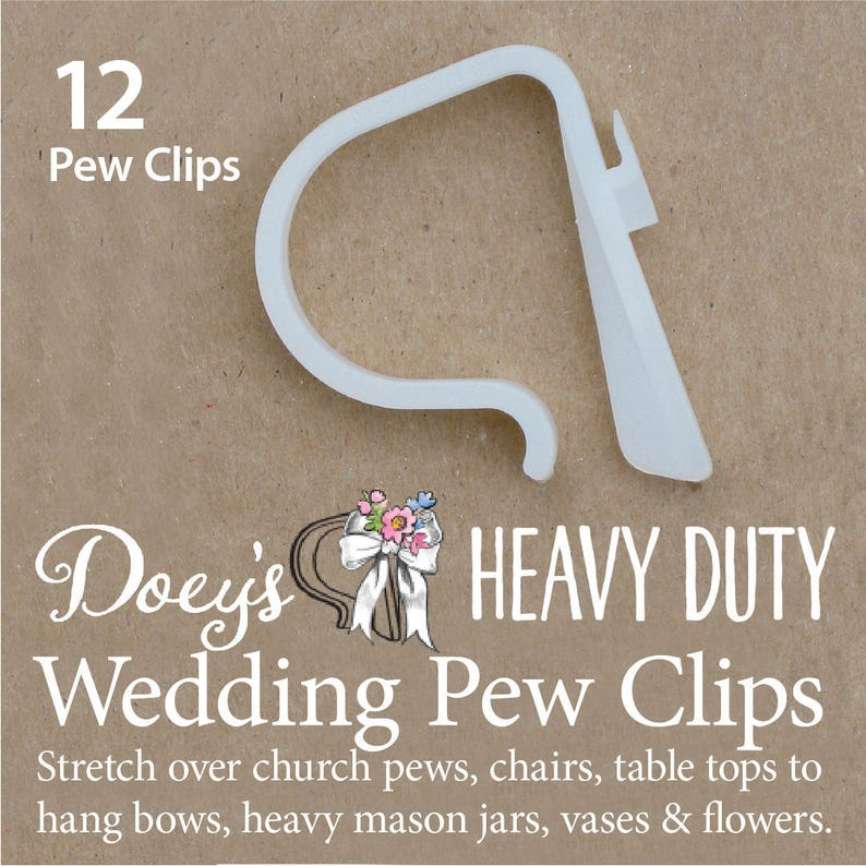Doey's HEAVY DUTY Pew Clips attach Wedding Aisle Pew image 0