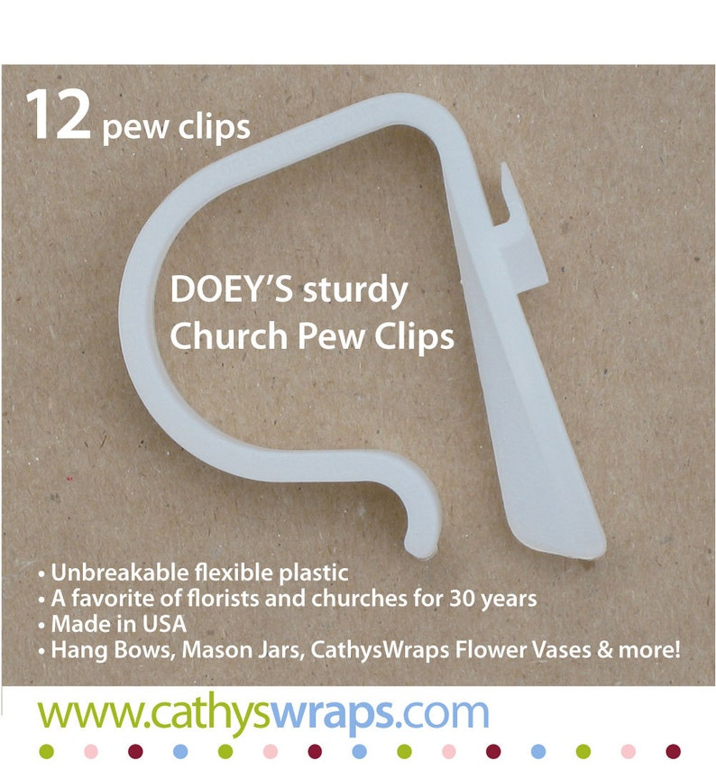 12 Wedding ceremony pew clips  Doey's Church Pew Clip image 0
